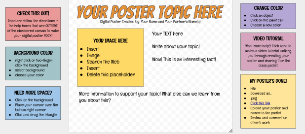 Digital Poster Template with Help Boxes - Google Drawings.clipular